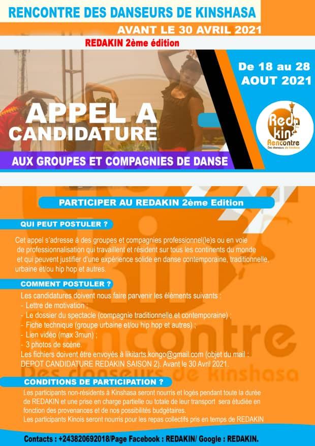 REDAKIN 2021 : Appel à candidature lancé aux Groupes et Compagnies de danse avant le 30 avril prochain