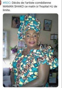 Urgent: Décès ce mardi à Kinshasa de l'artiste comédienne Jacqueline Shako allais «Maman Shako»