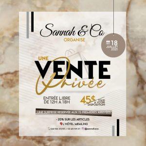 Kinshasa : Sannah & Co organise une vente privée ce dimanche 18 juillet de 12h à 18h à l'Hôtel Memling